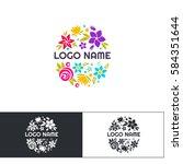many flowers logo two | Shutterstock .eps vector #584351644