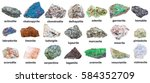 Small photo of geological collection of various mineral stones with names - edenite, vesuvianite, idocrase, vesuvian, uvarovite, hematite, wischnevite, vishnevite, actinolite, pintadoite, selenite, tagamite, etc