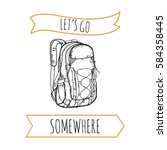hand drawn backpack. vector... | Shutterstock .eps vector #584358445
