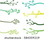 green tree branch silhouettes  | Shutterstock .eps vector #584359219
