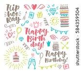 vector hand drawn calligraphic... | Shutterstock .eps vector #584359504