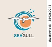 seagull icon with sea waves....   Shutterstock .eps vector #584360245