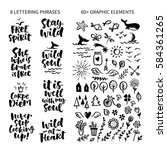 vector set of hand drawn... | Shutterstock .eps vector #584361265