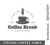 coffee label isolated on white... | Shutterstock .eps vector #584367859