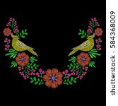 embroidery with dove bird  wild ... | Shutterstock .eps vector #584368009