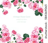 Stock vector invitation card with watercolor vintage roses bouquet vector floral pink decor for greetings 584369065