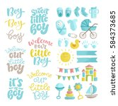 vector set of hand drawn... | Shutterstock .eps vector #584373685