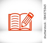 open book and pencil icon stock ... | Shutterstock .eps vector #584375365