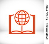 open book and globe icon stock... | Shutterstock .eps vector #584375989