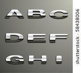 vector chrome alphabet | Shutterstock .eps vector #58438006