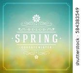spring vector typographic... | Shutterstock .eps vector #584383549