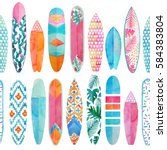 Watercolor Surfboard Pattern....