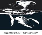 whale swim under volcano in... | Shutterstock .eps vector #584384089