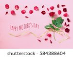 mother's day concept with rose... | Shutterstock . vector #584388604