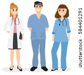 group of doctors in a hospital  ... | Shutterstock . vector #584401291