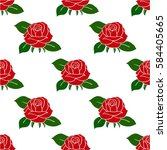 floral pattern with red rose...   Shutterstock .eps vector #584405665