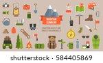 mountain climbing equipments... | Shutterstock .eps vector #584405869