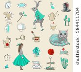 alice in wonderland seamless... | Shutterstock . vector #584411704