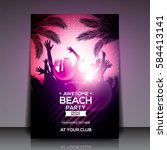 purple summer beach party flyer ... | Shutterstock .eps vector #584413141