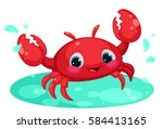 Red Cute Crab Cartoon In Water...