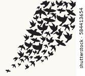 Flying Birds Silhouette Vector...
