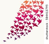 flying birds silhouette vector... | Shutterstock .eps vector #584413795