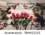 beautiful flower arrangements ... | Shutterstock . vector #584421151