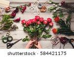 beautiful flower arrangements ... | Shutterstock . vector #584421175