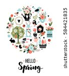 round card with spring icons... | Shutterstock .eps vector #584421835