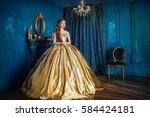 beautiful woman in a ball gown | Shutterstock . vector #584424181
