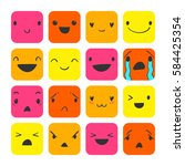 square emoticons with different ... | Shutterstock .eps vector #584425354