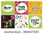 purim greeting card set.... | Shutterstock .eps vector #584427334
