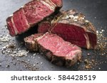 barbecue dry aged wagyu rib eye ... | Shutterstock . vector #584428519