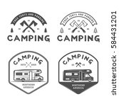 set of vintage camping outdoor... | Shutterstock . vector #584431201