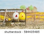 painted easter eggs on a...   Shutterstock . vector #584435485