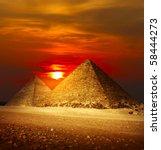 Pyramids In Giza Valley Under...