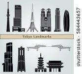 tokyo v3 landmarks and... | Shutterstock .eps vector #584443657
