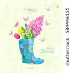 vintage banner with bouquet of... | Shutterstock .eps vector #584446135