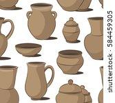 rustic ceramic utensils pattern | Shutterstock .eps vector #584459305