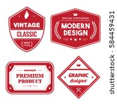 set of red vintage badge tag... | Shutterstock .eps vector #584459431