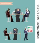 arab business people meeting ... | Shutterstock .eps vector #584473411