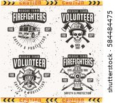 firefighters set of four vector ... | Shutterstock .eps vector #584484475