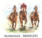 Stock photo horse race riding sport jockeys competition horses running watercolor painting illustration 584491291