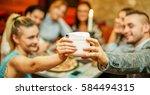happy friends taking selfie... | Shutterstock . vector #584494315