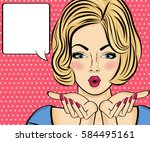 surprised pop art woman . comic ... | Shutterstock .eps vector #584495161