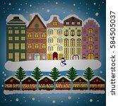 snowfall on christmas eve.... | Shutterstock . vector #584505037