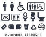 Toilet Icons On White Background