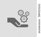 gears in hand vector icon eps... | Shutterstock .eps vector #584510161