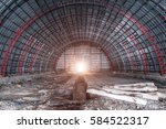 Empty Abandoned Hangar. Arched...