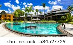 swimming pool and spa territory.... | Shutterstock . vector #584527729